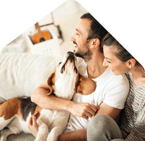 happy family of renters with pet