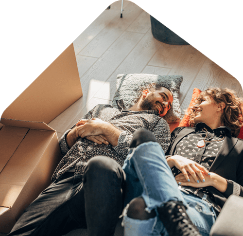 homeowners relaxing on the floor
