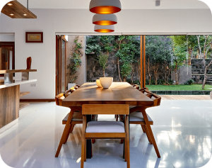 dinning place at home with wooden table