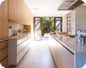 light orange color kitchen and pantry