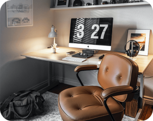 study room with leather chair