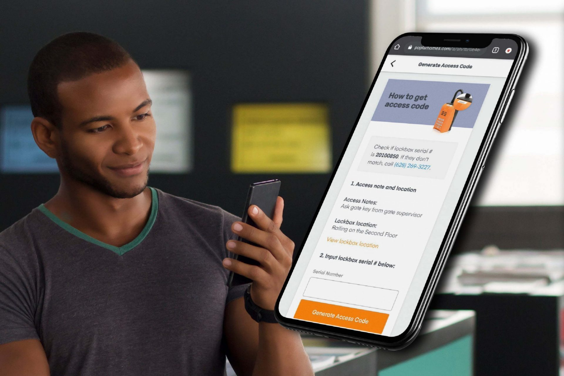 man using poplar homes platform using iphone