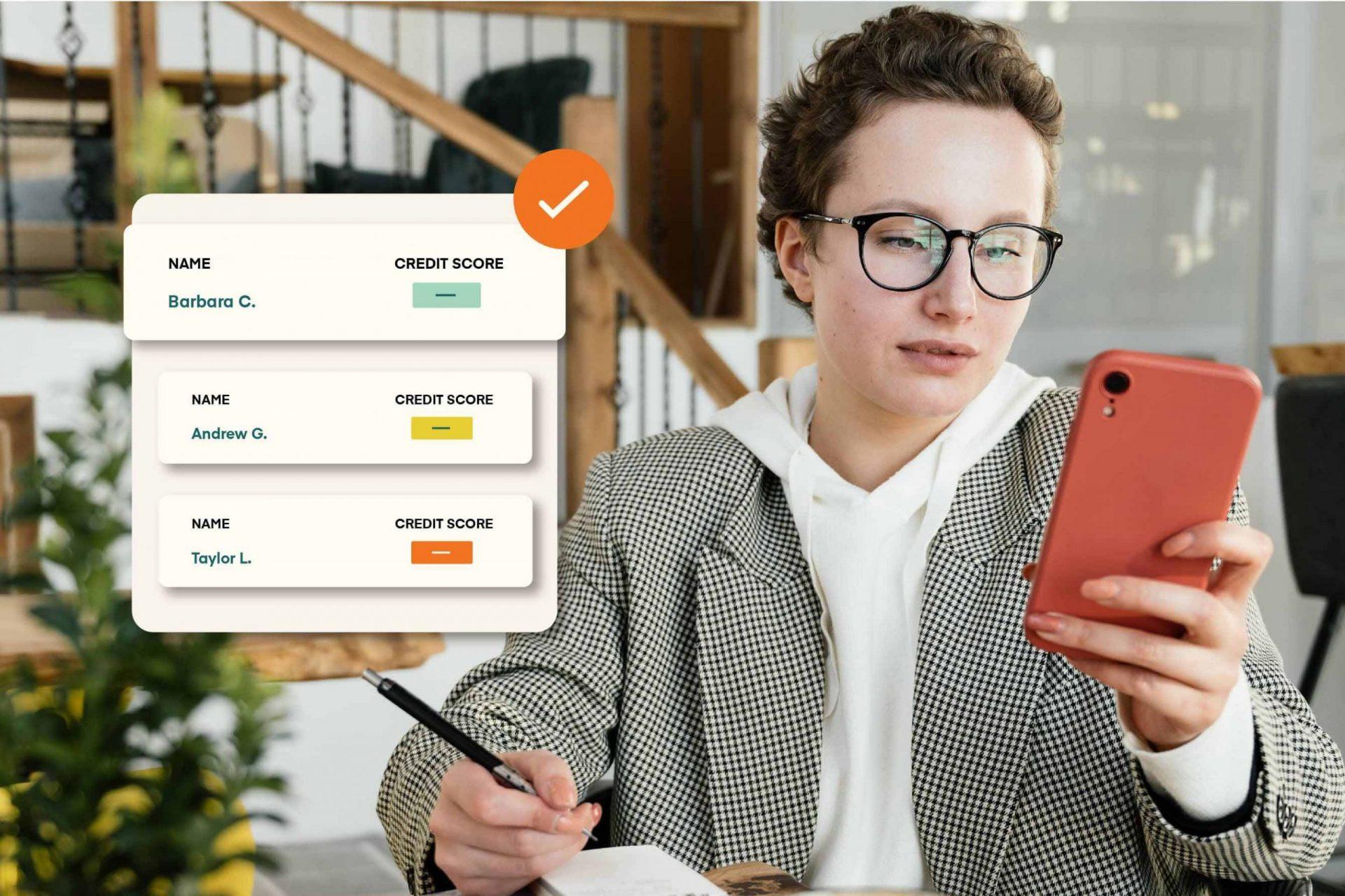 woman looking at renter applicants credit score